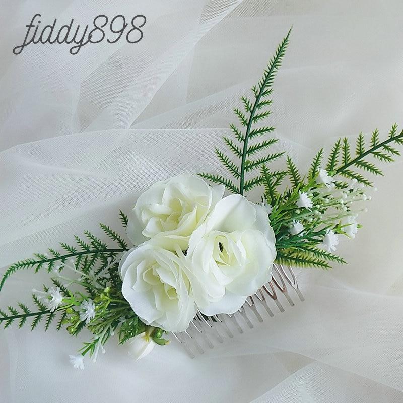 Más romántico de novia flor y hoja de accesorios para el cabello...
