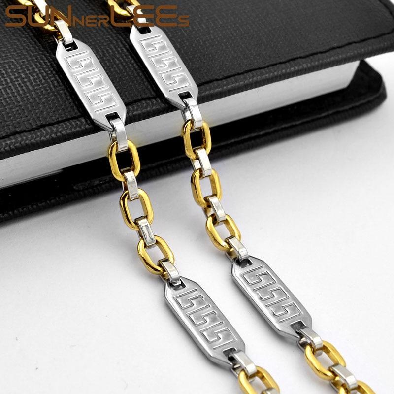 Sunnerlees aço inoxidável colar de alta polonês 7mm geométrico link corrente cor prata banhado a ouro masculino feminino jóias presente sc185 n