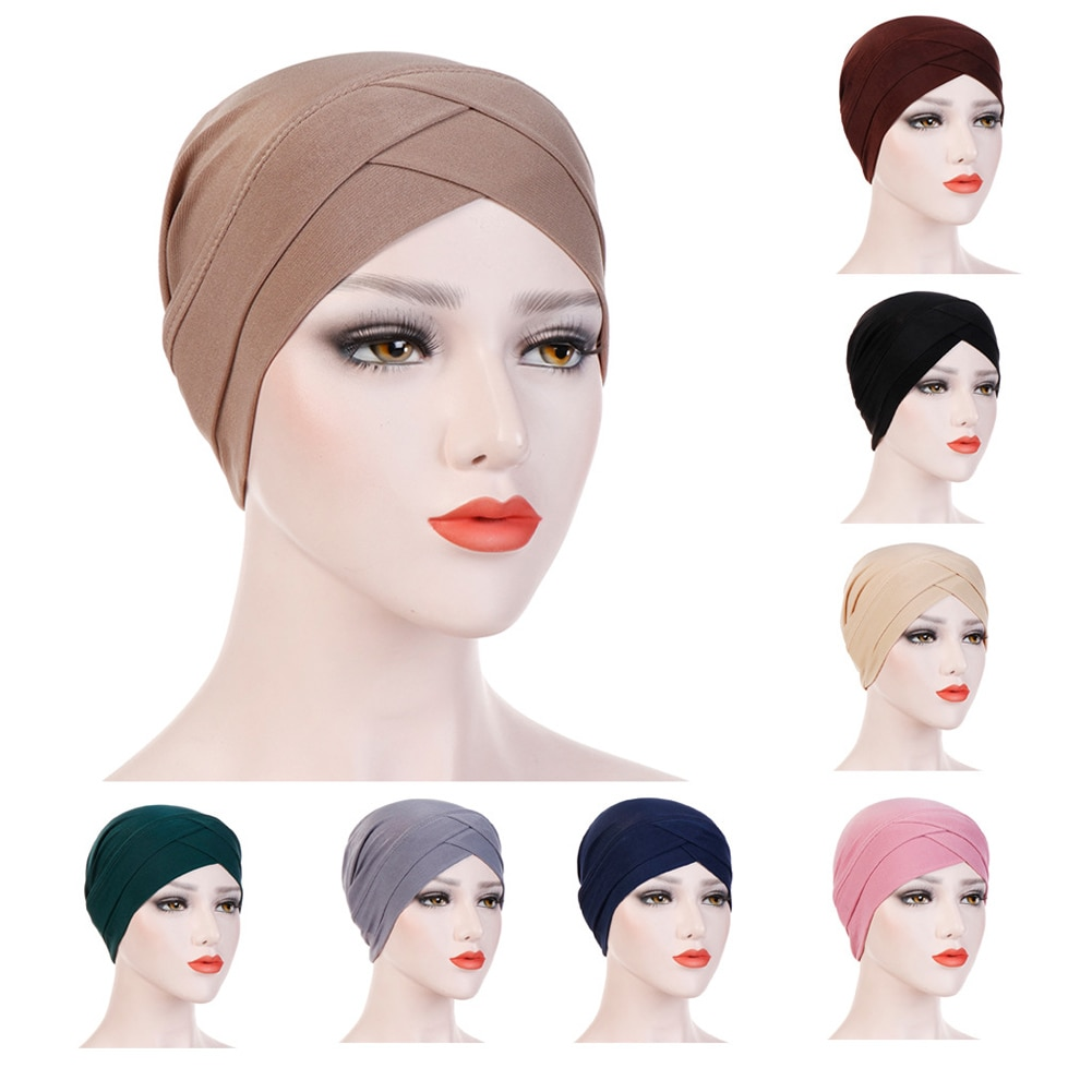 Atacado turbante sólido para mulher elástico chapéu turbante cruz cabeça envoltório bandana algodão poliéster lenço hijab boné cabeça capa