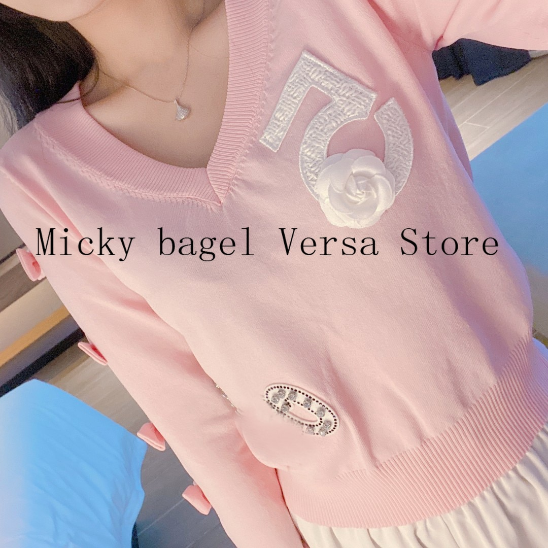 2021 luxury brand embroidery inlaid diamond letter printing fashion women's top temperament V-neck versatile loose knit Pullover enlarge
