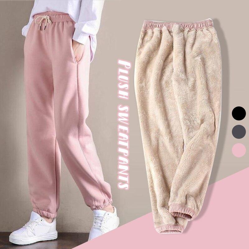 Женские зимние теплые плотные повседневные брюки, женские спортивные брюки для спортзала, спортивные мешковатые брюки, джоггеры, женские ф...