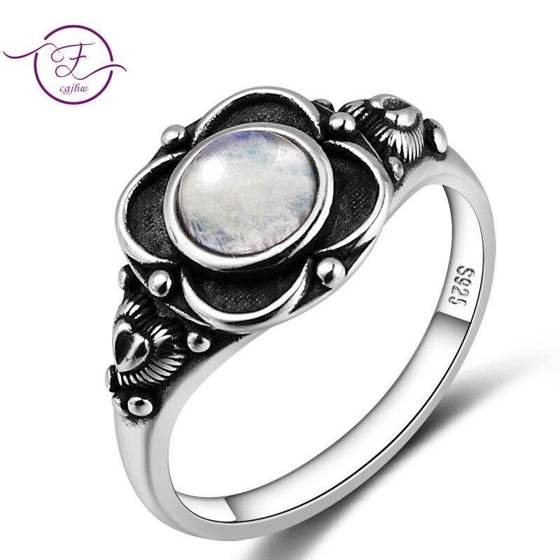 100% s925 prata esterlina anel redondo 6mm natural moonstone anel do vintage jóias de noivado da flor festa de casamento presente