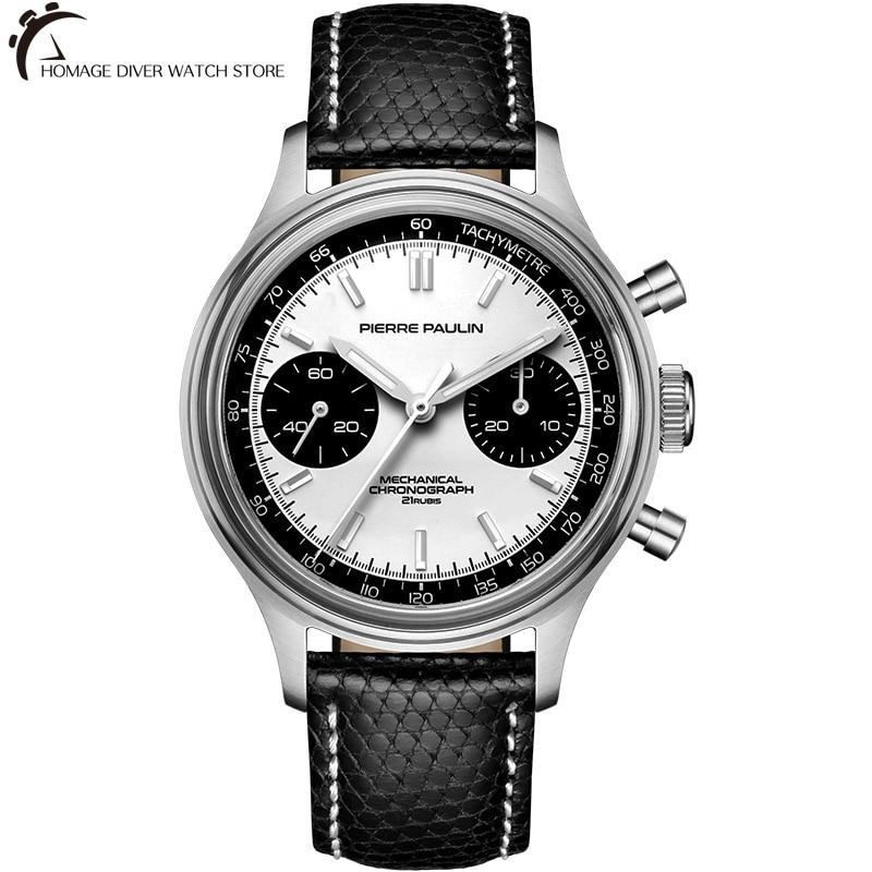 Merkur ساعة معصم الطيار للرجال أبيض الباندا الهاتفي علامات مضيئة زجاج الأكريليك كرونوغراف وظيفة ST19 اليد لف الحركة