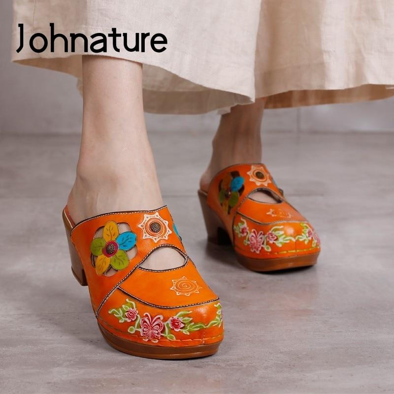 حذاء نسائي من جلد طبيعي من Johnature خف صيف 2021 جديد مختلط الألوان بتصميم كلاسيكي خف نسائي مصنوع يدويًا من الزهور