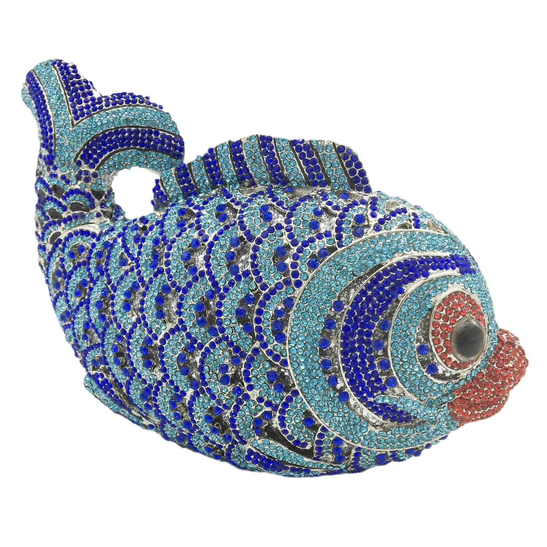 بوتيك دي FGG المرأة الأسماك ماسك من الكريستال حقيبة مسائية حفل زفاف الزفاف حجر الراين minaudio ere حقيبة يد صغيرة الحجم أزرق فاتح