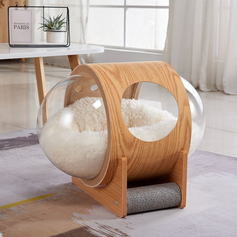 Space Capsule Cat Litter Transparent Cat Delivery Room Solid Wood Space Cat Climbing Frame