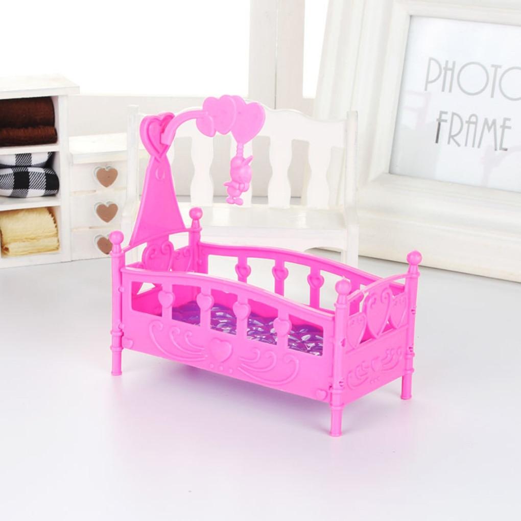 Mini cuna cama muñeca casa juguete muebles casa de muñecas accesorios plástico miniatura niñas juguete al azar Color regalos