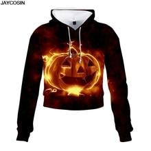 JAYCOSIN Women Halloween Horror Print Party Long Sleeve Casual Short Sweatshirt Tops Long Sleeve Hooded Sudadera Mujer diy 9828
