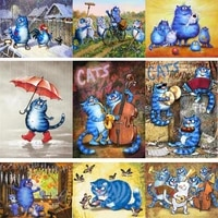 fsbcgt animal painting by number blue cats and birds drawing on canvas hand painted pictures by number cartoon art holiday gifts