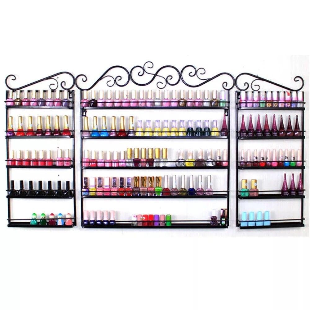 Yonntech 5 Tiers Metal Nails Polish Display Organizer Beauty Shop Commercial Wall Rack Holder
