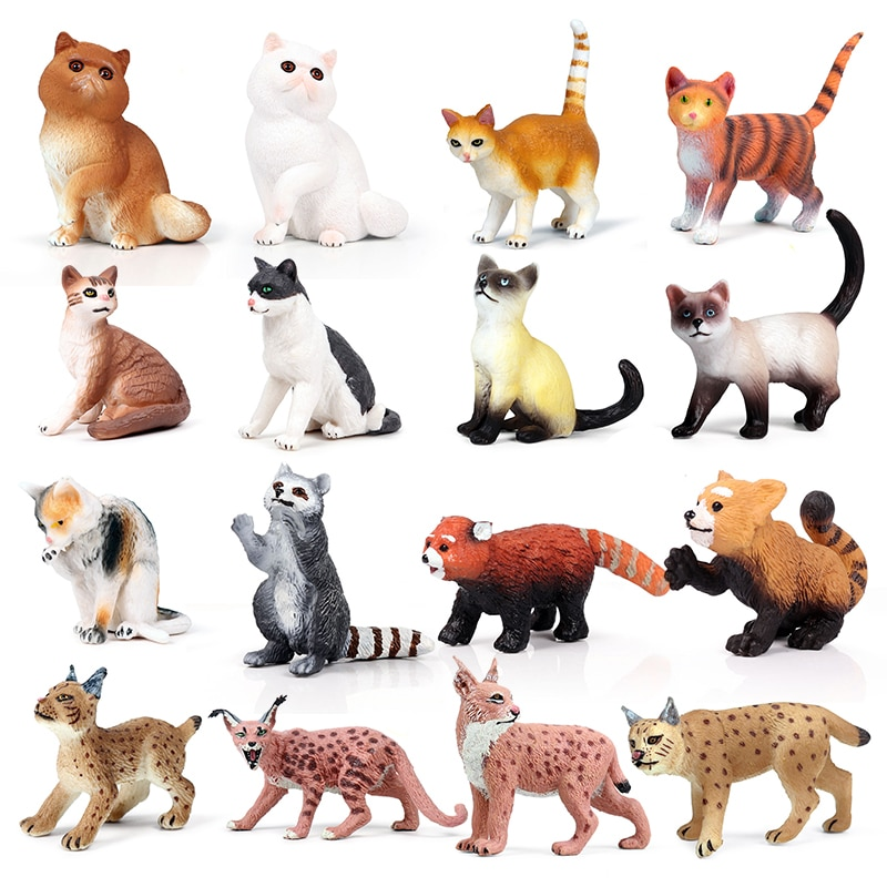 Ação & brinquedos figura animais selvagens pvc mini animal de estimação gato lynx raccoon modelo collectible boneca figura coleção para o presente do miúdo casa deco