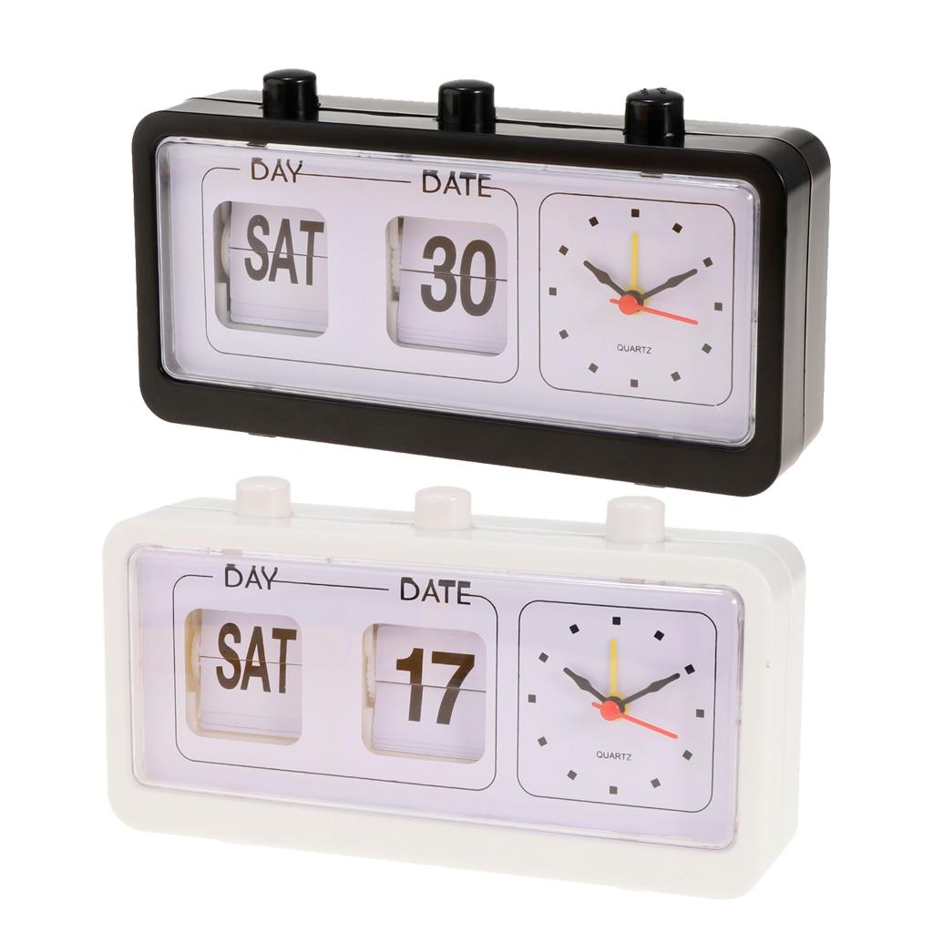 Reloj despertador Retro con tapa para escritorio con calendario, decoración para habitación...