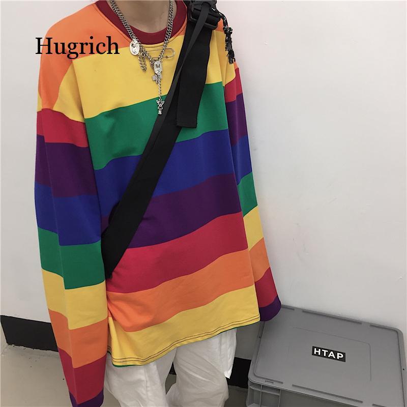 plus size drop shoulder striped tunic t shirt Plus Size Causal Cotton t Shirt Women Striped T-Shirt Rainbow Shirt Female Harajuku Loose Top Shirts Punk Style Top