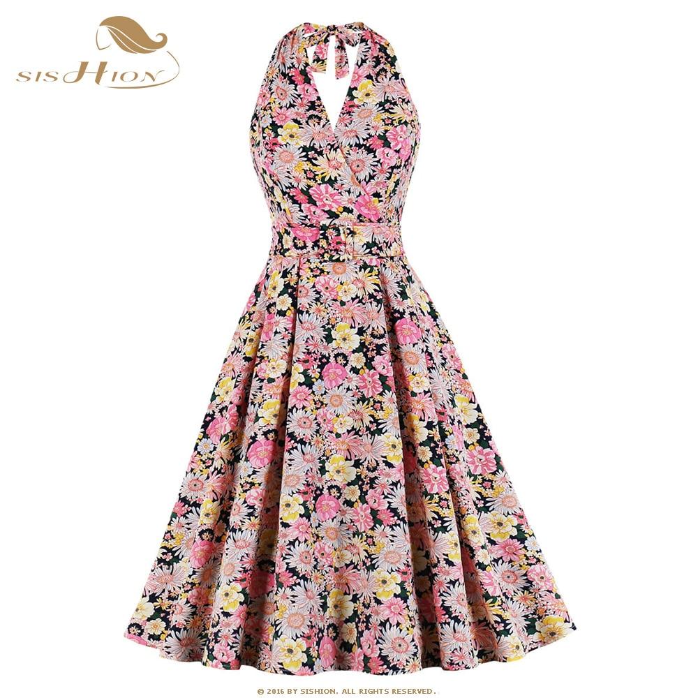 SISHION mujer Sexy escote Halter vestido de verano sin mangas Pin Up Vintage Floral imprimir una línea elegante vestidos para mujeres, vestido SP1127