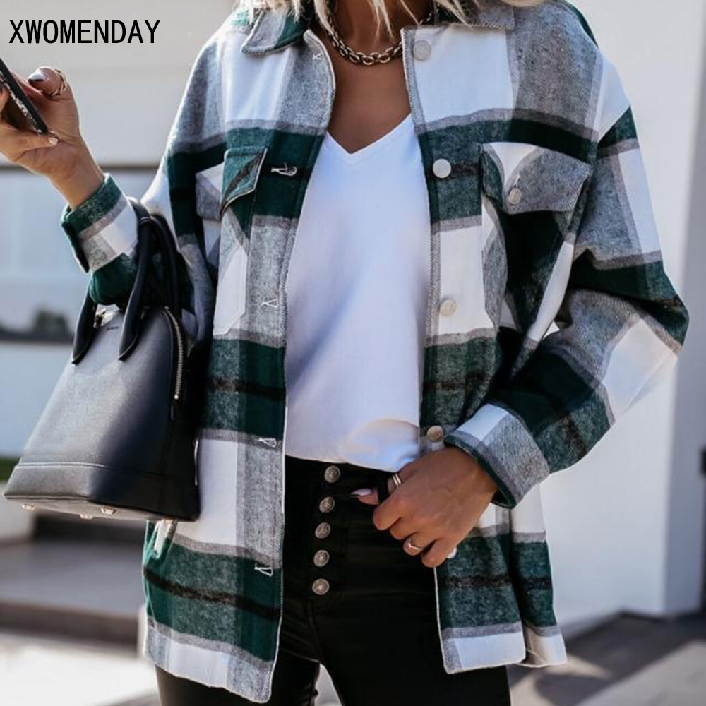 Shirts For Women Plaid Long Sleeve Button Up Shirt Collared Tops And Blouse 2021 Autumn Spring Fashi