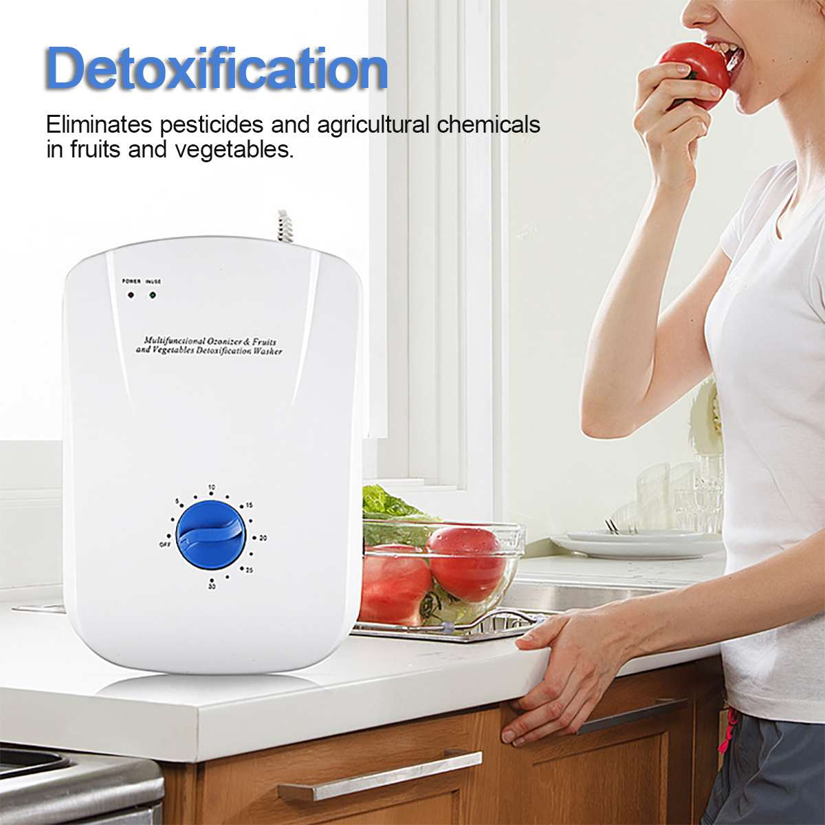 400mg/h Portable Ozone Generator Ozonator ionizer Multifunctional fruit and vegetable sterilizer Timer Air Purifiers 110-220V