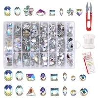 sewn rhinestone acrylic strass beads shape flatback resin crystal rhinestones for needlework clothes shoe diy crafts decorations