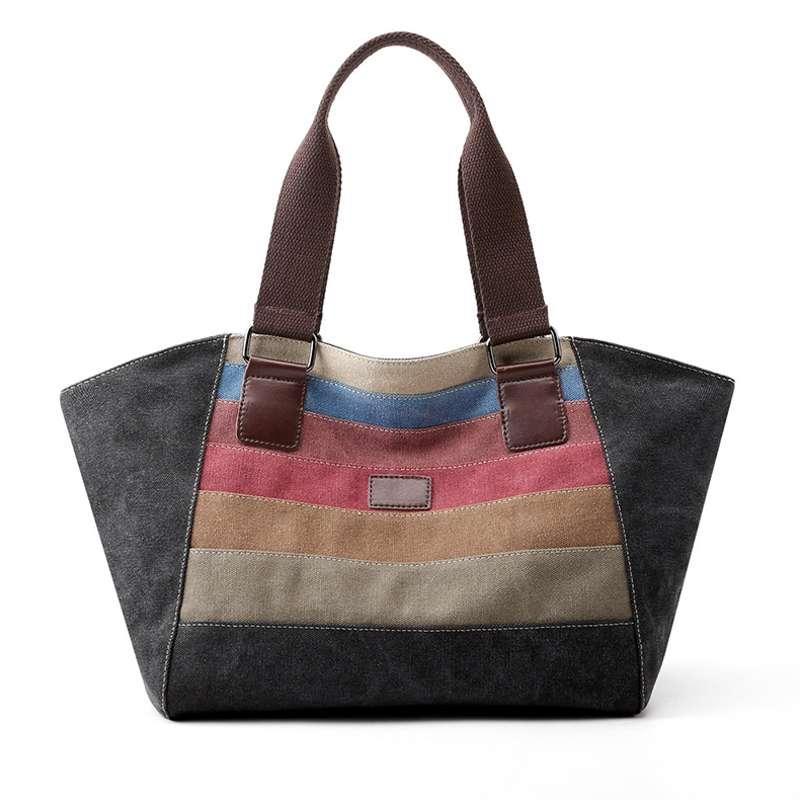 2020 new stitching canvas handbags large-capacity one-shoulder portable Messenger bag