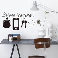 before leaving reminder wall sticker for home bedroom living room door wall decor decals poster mural vinyl daily stickers lw141