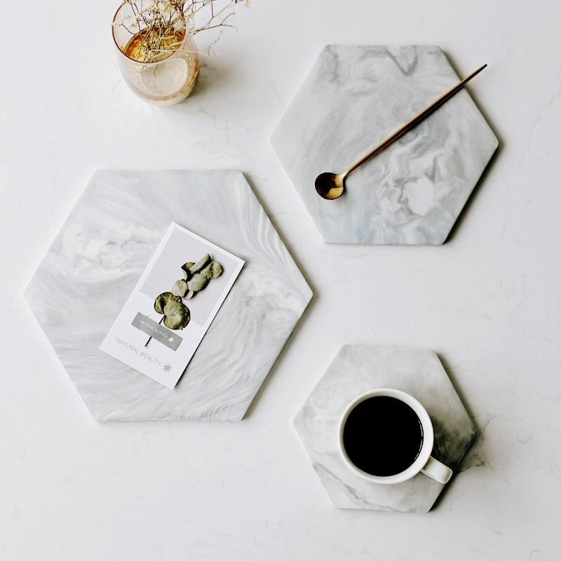 Tabla para cortar de mármol hexagonal, galletas de queso, tabla de servicio de postre para Sushi, placa decorativa de cerámica, soporte individual
