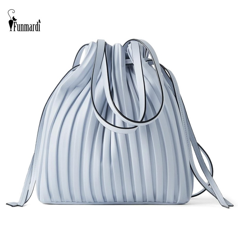 FUNMARDI العلامة التجارية تصميم حقيبة كتف جلدية PU مطوي شريط دلو حقيبة السيدات Crossbody حقيبة للنساء حقيبة 2021 يد WLHB3081