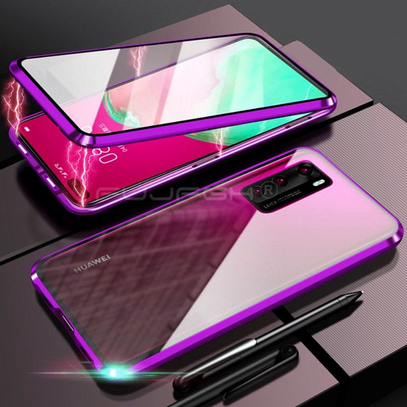 360°Full Protect Metal Magnetic flip Phone Case For Huawei P40Pro Case P30 Mate 20Pro Adsorption Tempered Glass Protective Cover