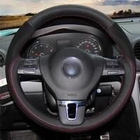 diy anti slip wear resistant steering wheel cover for volkswagen tiguan golf plus passat cc amarok car interior decoration