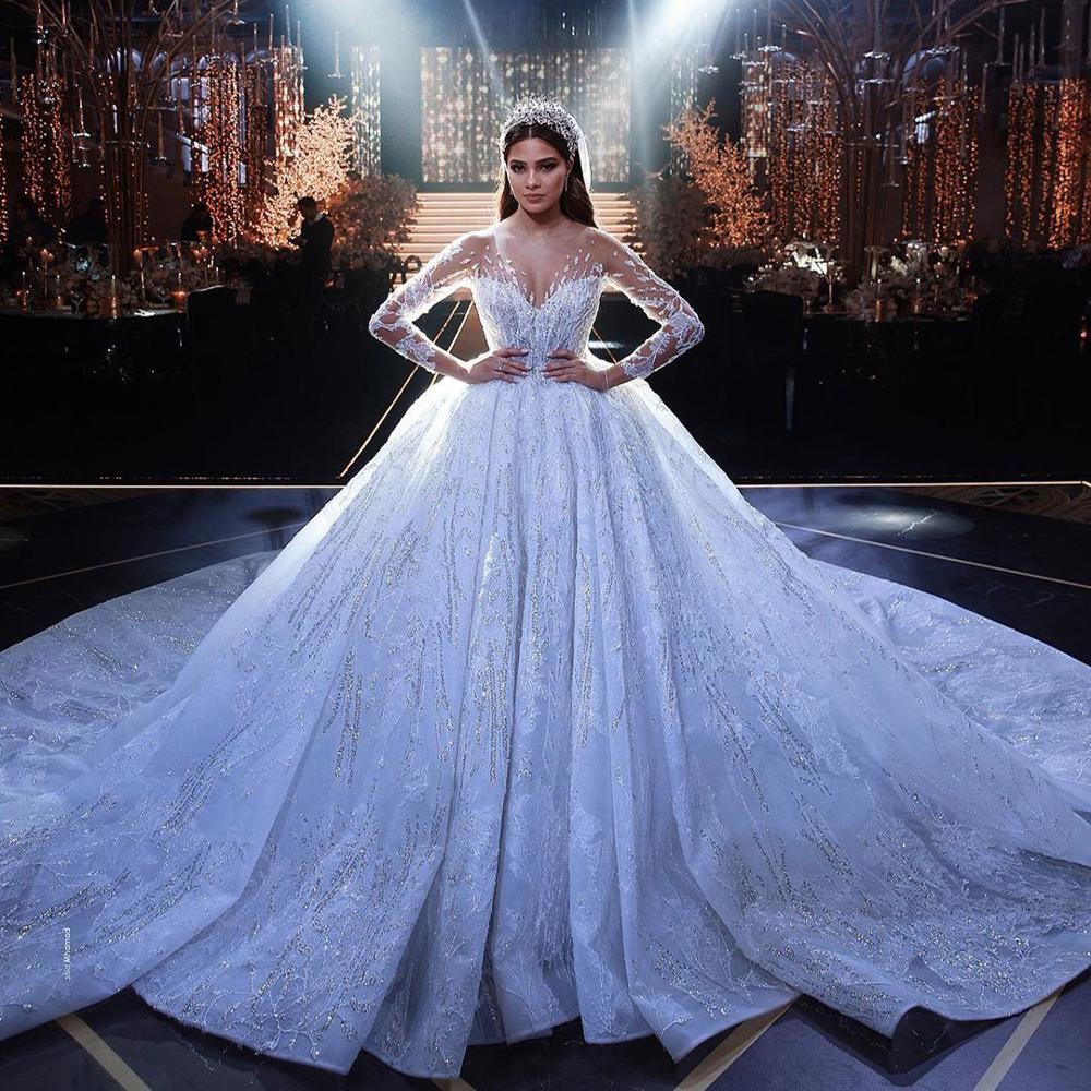 New Arrivals 2021 Luxurious Big Ball Wedding Dresses Crystal Beads Flowers Wedding Dresses Vestido De Noiva Mariage Bridal Gown