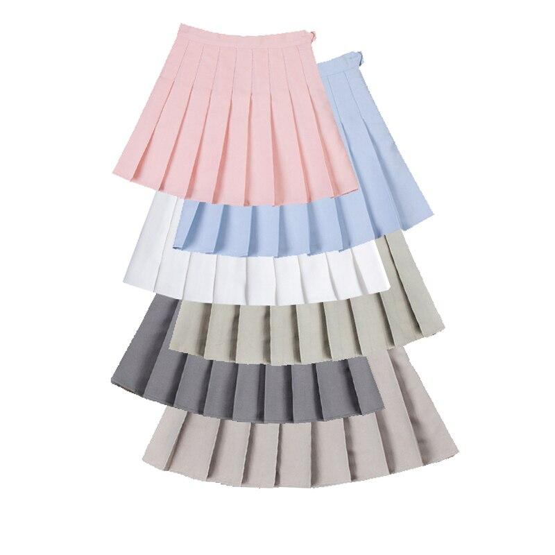 Модная женская мини плиссированная юбка, летние женские короткие юбки с высокой талией, милые трапециевидные мини-юбки для девушек, однотон...