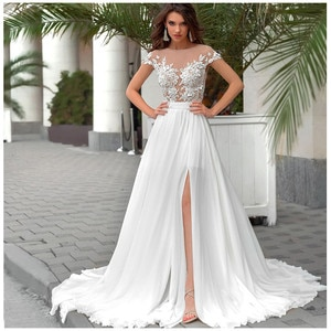 Sheer Short Sleeves A-Line Wedding Dresses Lace Appliques Chiffon Long Spring Beach Bridal Gowns Sexy Illusion Split Side Sexy