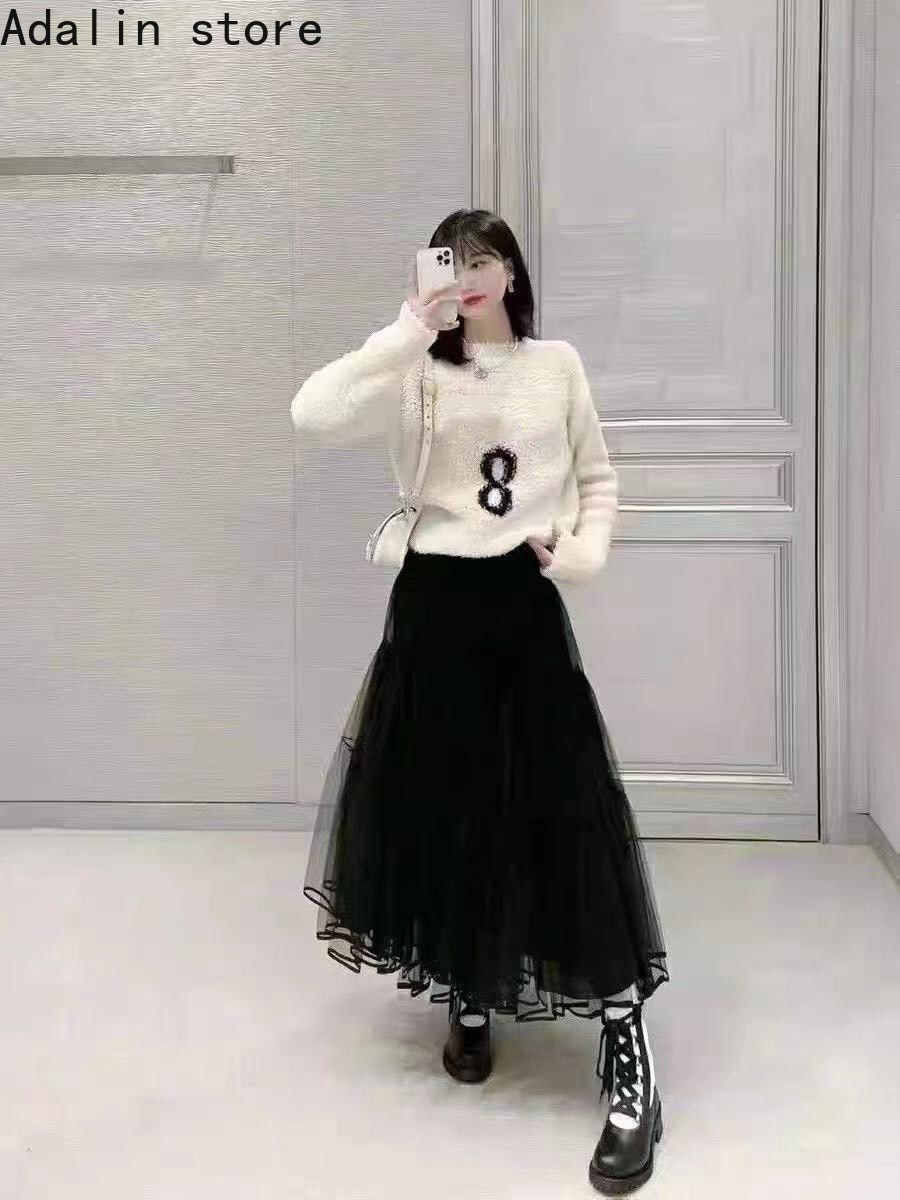2021high quality women's number 8 embroidery letter lamb wool long sleeve Pullover Top versatile knit sweater on both sides enlarge