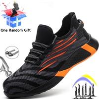 Защитная обувь MJYTHF, мужские проколостойкие рабочие кроссовки, мужская обувь со стальным носком, рабочие ботинки, неразрушаемые защитные бо...