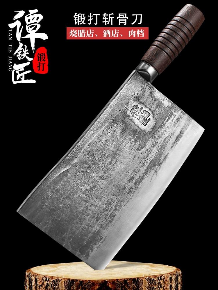 سكين الجزار عالية الكربون يرتدون الصلب ختم سكين اليدوية مزورة الصينية الساطور مع كامل تانغ مقبض الشيف أدوات الطبخ