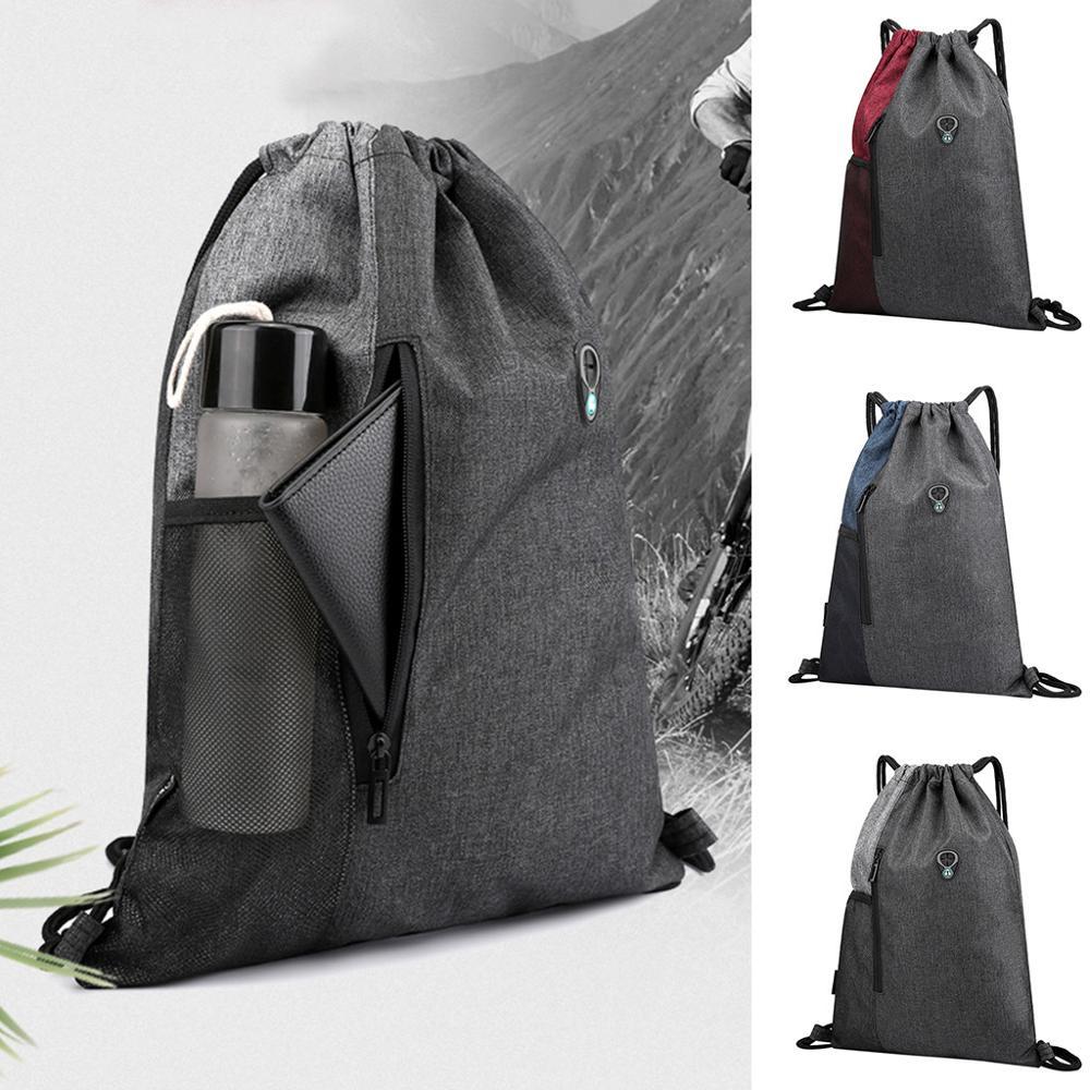 Bolsa de playa bolsa de deporte de Fitness al aire libre Paquete de bolsillo Unisex bolsa de cordón Mochila De mujer mochila de marea con auriculares jack #45
