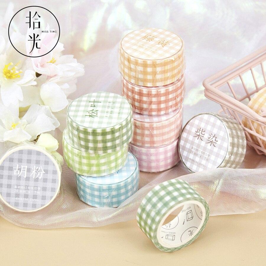 Serie Básica de cuadrícula, diario, cinta adhesiva Washi, sal decorativa, cinta adhesiva Simple, DIY, pegatina para álbum de recortes, artículos de papelería con etiquetas