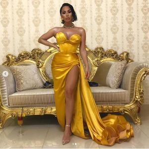 Gold Evening Dresses Sexy vestido de festa longo Prom Dress Abiye Long Pleat Sweetheart Prom Gown Removable Skirt Robe De Soiree