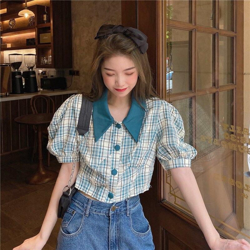 HOUZHOU Women's Shirt Vintage Plaid Puff Sleeve Top Harajuku Cute Clothes Korean Fashion Button Up Green Short Sleeve Shirts