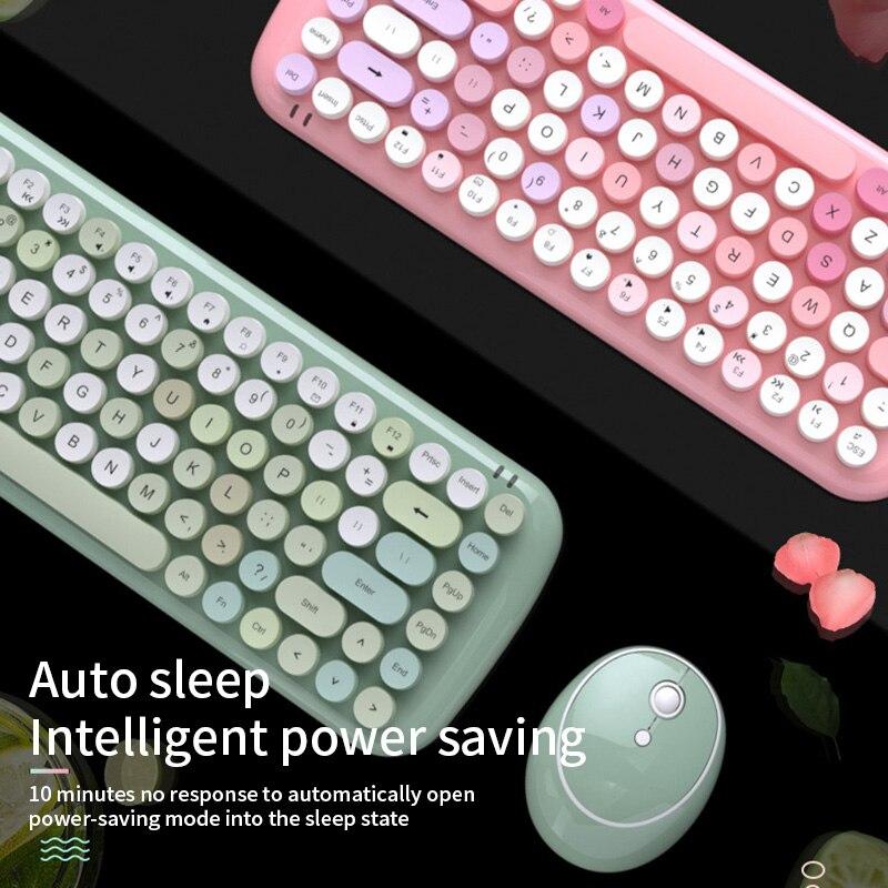 Беспроводная bluetooth-клавиатура, мышь, набор, милый стимпанк 2,4G, беспроводная мышь, 1600 dpi, положение, Ретро стиль, цветная 84 круглая клавиатура
