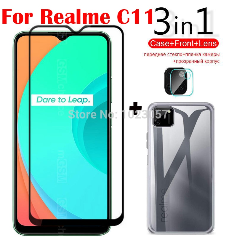 3-in-1 Case Glass For Realme C11 Screen Protector Glass Full Protection on For Realme C11 Camera Len