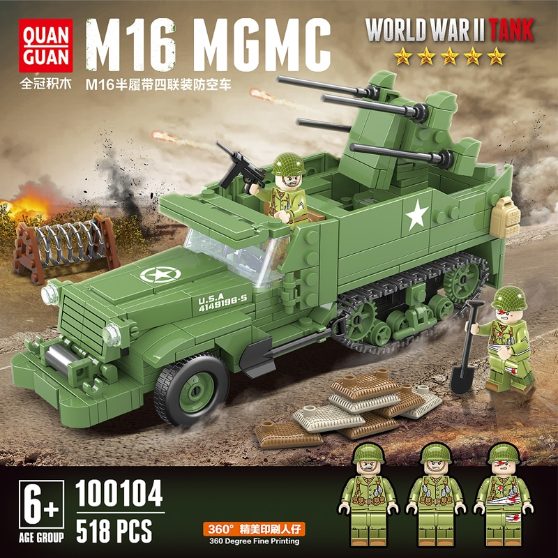 Nuevo 518 Uds. UU. M16 Vehículo de bloques de construcción de media pista WW2 vehículo militar de defensa aérea cuádruple soldado piezas de arma de juguete de ladrillos