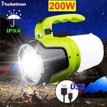 Linterna LED para acampar, linterna recargable por USB, luz de trabajo al aire libre, reflector impermeable, lámpara de emergencia para senderismo y pesca, 20000LM