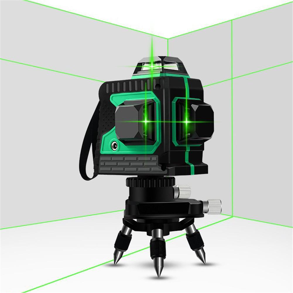 3D 12 líneas láser verde niveles autonivelantes 360 Cruz Horizontal y Vertical línea de haz de láser verde súper potente