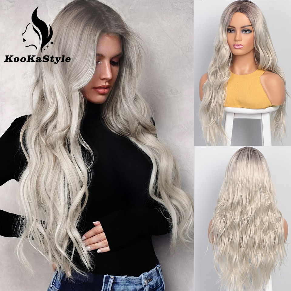 KooKaStyle Synthetic Wigs Long Wavy Wigs for Women Natural Part Side Wig Heat Resistant Party Hair Ombre Blonde Wigs Brizilan