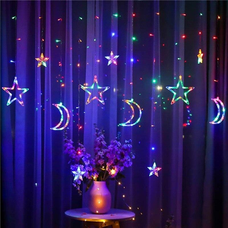 Leeiu Luna estrella LED cortina de hadas Cadena de luz Navidad ornamento para ventana guirnalda Feliz Navidad decoración para el hogar 2020 suministro de Año Nuevo