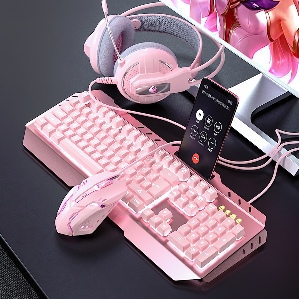 USB Mechanical Gaming keyboard Combos Wired Optical Mouse keyboard Headset Set with LED Backlight for Gamer Computer PC Laptop