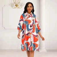 print pleated mini dress a line loose preppy style bowtie collar long sleeve fashion african cute dress big size 4xl ball gown
