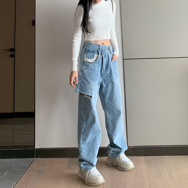 Irregular High Waist Hole Wide Leg Jeans Casual Loose Denim Pants Vintage Korean Fashion Harajuku Straight Pants 2021 Streetwear