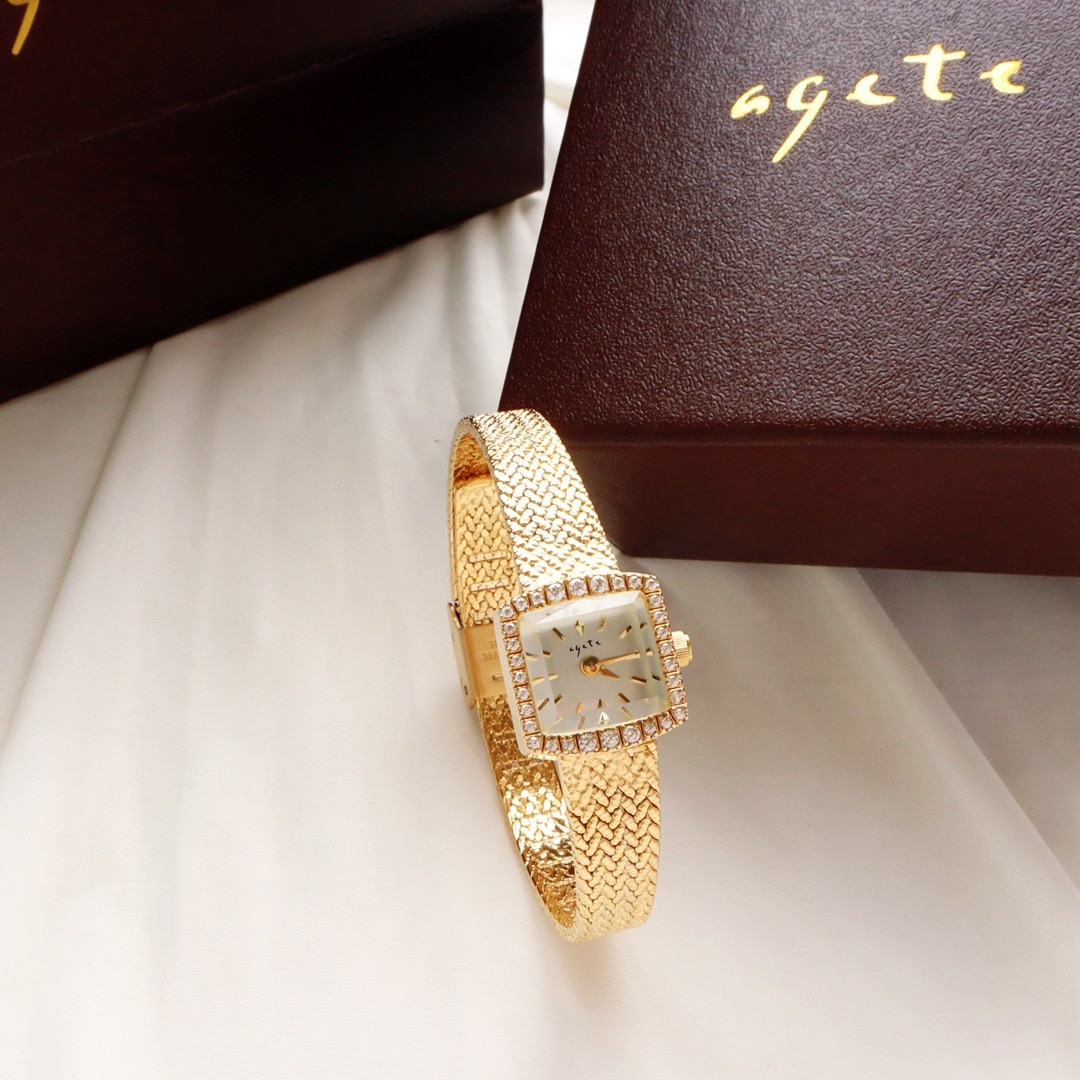 Women Gold Watches New Mini-square Luxury Diamond-encrusted Wheat Ear Gold Watch Ladies High-end Watches Gifts enlarge