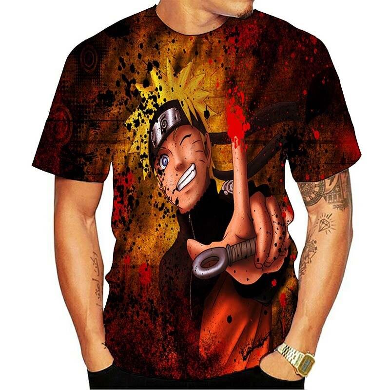 Naruto hip hop tshirt masculino/feminino sasuke engraçado dos desenhos animados 3d camiseta moda streetwear t camisa anime japonês