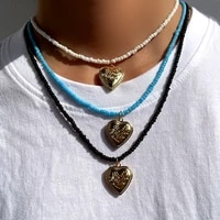 multicolor gold metal big heart beaded pendant necklace for women rainbow color acrylic rice bead choker collar fashion jewelry